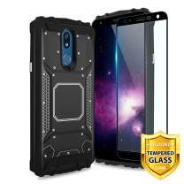 TJS Phone Case for LG K40/K12 Plus/X4/Solo LTE/Harmony 3/Xpression Plus 2, with [Full Coverage Tempered Glass Screen Protector] Aluminum Magnetic Support Built-in Metal Plate Back (Black)