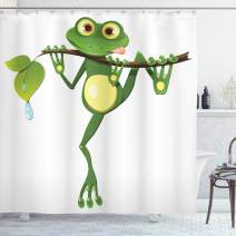 """Ambesonne Animal Shower Curtain, Little Frog on Branch of The Tree in Rainforest Nature Jungle Life Art Earth, Cloth Fabric Bathroom Decor Set with Hooks, 84"""" Long Extra, White Green"""