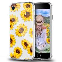 Newseego Compatible with iPhone SE 2020 Clear Case,iPhone 7/8 Case, Yellow Floral Flower Sunflower Soft TPU Flexible Design Transparent Shockproof Slim for iPhone 7/8/ SE-(Sunflower)