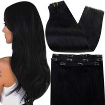 Full Shine Clip in Hair Extensions Black Human Hair Natural Remy Double Weft with Lace 3 Pieces Real Hair Extensions Clip in Human Hair for Short 10 Inch Clip in Extensions for Women 50Gram One Set