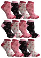 Pink Ribbon Breast Cancer Awareness Ankle/Crew Socks for Women