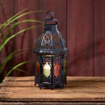 Lights4fun, Inc. Black Metal Moroccan Indoor Battery Operated LED Flameless Candle Lantern with Colored Glass