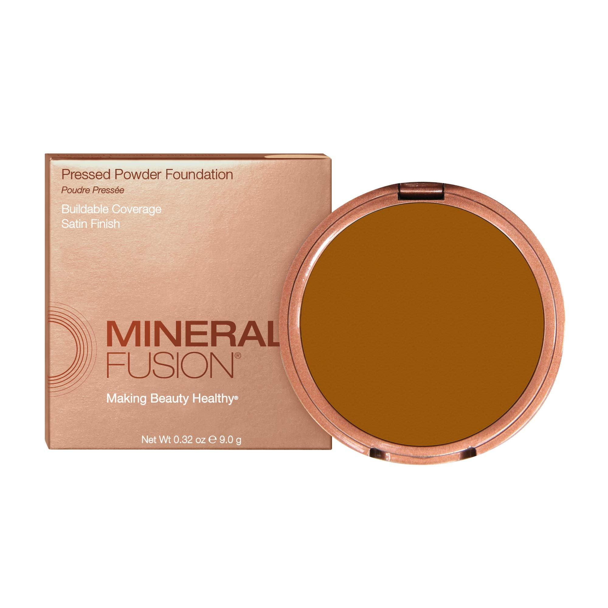 Mineral Fusion Makeup Pressed Powder Foundation Deep 4, 0.32 oz
