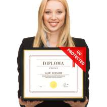 CREKERT Diploma Frame 11x14 Frame for Picture Documents Certificate Frame with Mat Included Real Solid Wood Golden Rim (Black Gold + Ivory Mat, 1 Pack)