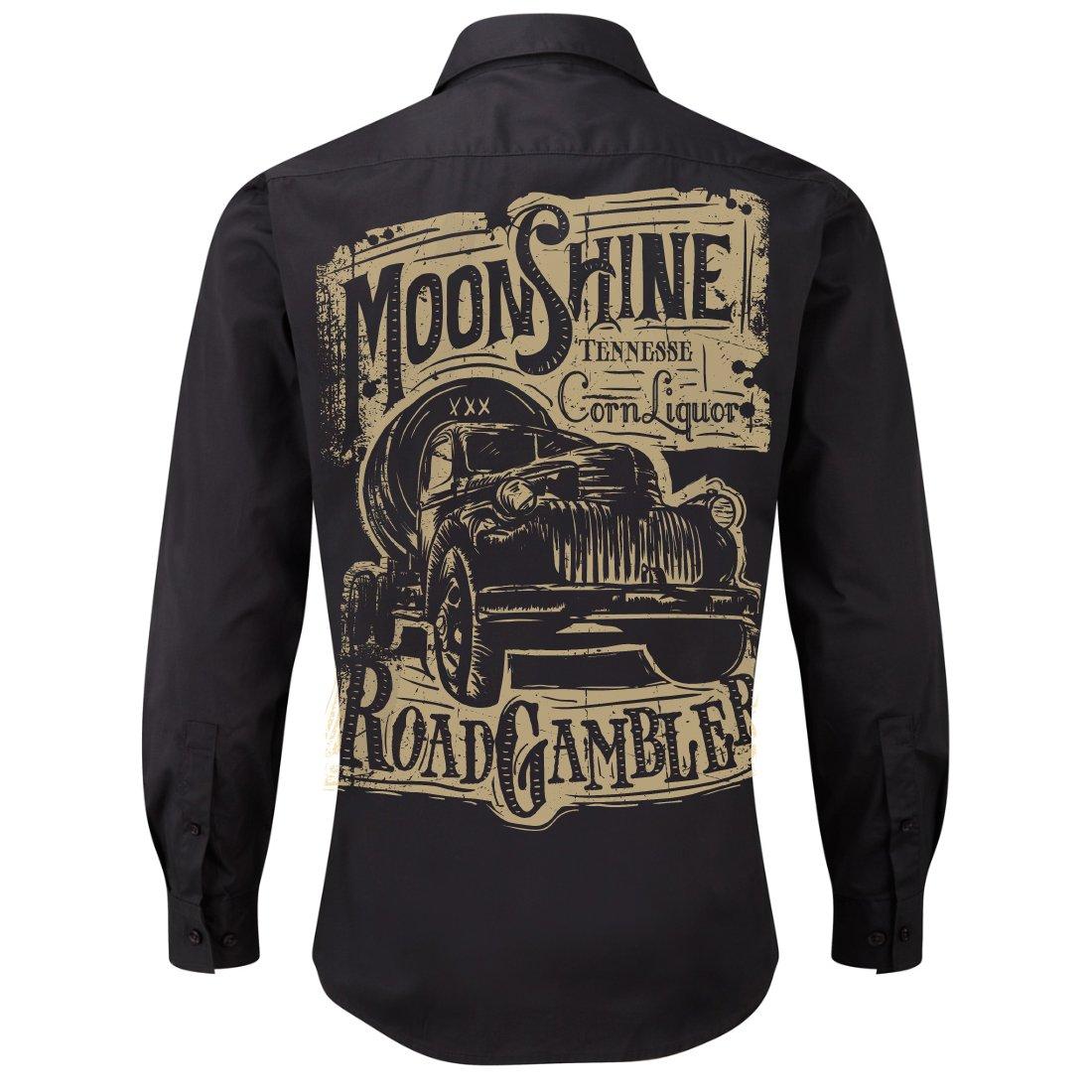 ROAD RODEO Rockabilly,Mechanic Work Shirt, Longsleeve, Rock'n'Roll, Pick Up, Booze, Moonshine