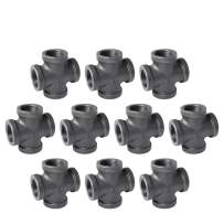 """3/4"""" 4-Way Cross Fitting Connector, Home TZH Malleable iron Pipe Fittings for Industrial vintage style, Flanges with Threaded Hole for DIY Project/Furniture/Shelving Decoration (10, 3/4"""")"""