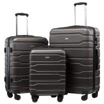 Seanshow Luggage 3 Piece Set Suitcase Lightweight Hard Shell Suitcase Set 3 PCS 20 24 28 gray