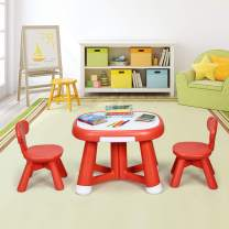 Costzon Kids Table and Chair Set, Children Activity Table Set, 1 Craft Table & 2 Kids Chairs, Compact Table with 2 Small Drawers for Pencils and Stationery, Desktop Paste White Panel (Red)