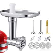Metal Food Grinder Attachments for KitchenAid Stand Mixers, Meat Grinder, Sausage Stuffer Includes Two Sausage Stuffer Tubes, Durable Perfect Attachment for KitchenAid Mixers, Sliver