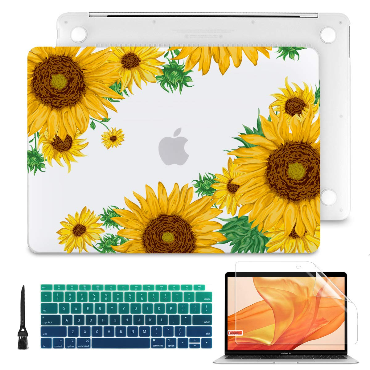 Batianda 2020 2019 2018 New MacBook Air 13 inch with Touch ID & Retina Model A2179 A1932 Flower Print Soft-Touch See Through Matte Clear Hard Shell Case Cover with Keyboard Cover Skin, Sunflower