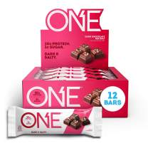 ONE Protein Bars, Dark Chocolate Sea Salt, Gluten Free Protein Bars with 20g Protein and only 1g Sugar, Guilt-Free Snacking for High Protein Diets, 2.12 oz (12 Pack)