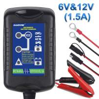 ADPOW 6V 12V 1.5A Car Battery Charger Trickle Battery Charger Automatic Maintainer 6V&12V 4-Step Power Battery Charging for Auto Car Motorcycle Lawn Mower SLA ATV AGM GEL CELL