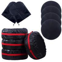 4 Pcs Tire Covers with 4 Pcs Wheel Felt and 2 Pcs Side View Mirror Cover,Waterproof Adjustable Foldable Spare Tire Cover Dust Cover Wheel Protection Covers for Car Off Road Truck SUV (Red-66cm/28in)