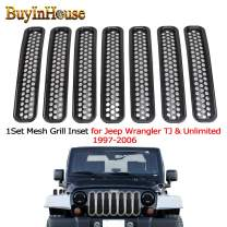 buyinhouse 1Set Mesh Grill Inset for Jeep Wrangler TJ & Unlimited 1997-2006, Car Front Grille Trim Honeycomb Grill Inserts Cover Custom 3D Formed Grille Cover accessorise
