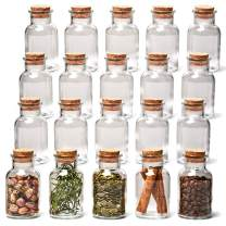 EZOWare 20 Bottle Clear Glass Jar Set with Cork Lid, Round Decorative Reusable Vial Storage Containers for Spices, Herbs, Teas, Seasonings, Party Favors, Candy (150ml)