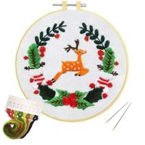 Louise Maelys Christmas Embroidery kit for Beginners Christmas Elk Wreath Pattern Cross Stitch Kits for Decor Gifts