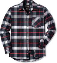 CQR Flannel Long Sleeved Button-Up Plaid All Cotton Brushed Shirt