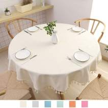 """SPRICA Round Tablecloth, Cotton Linen Tassel Table Cover for Kitchen Dinner Table, Decorative Solid Color Table Desk Cover,Diameter 70"""", Beige"""