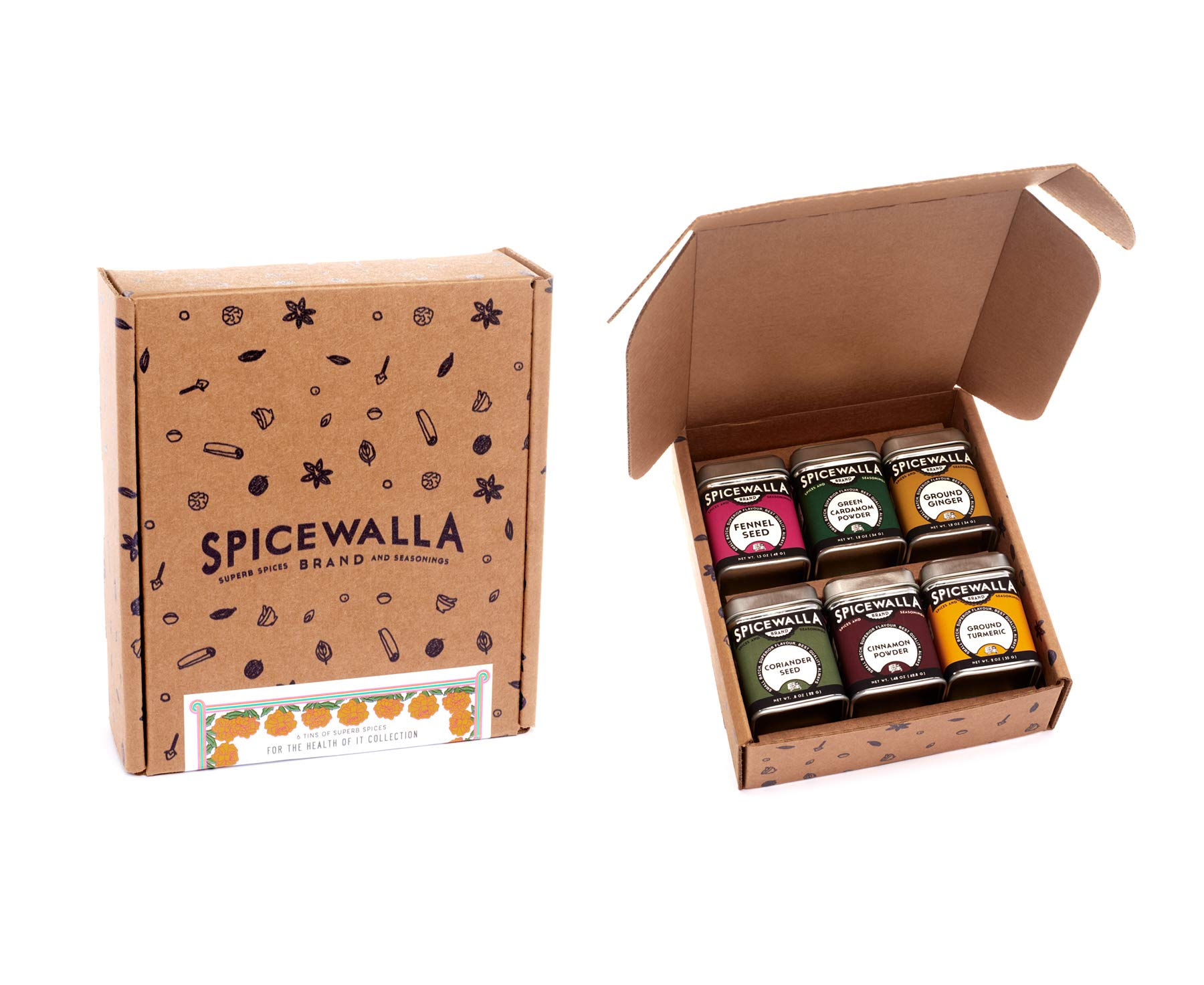 Spicewalla For The Health of It Spice Collection 6 Pack | Turmeric, Fennel Seed, Green Cardamom Powder, Ginger Powder, Coriander Seed, Cinnamon | Health-Focused Spices
