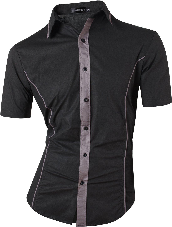 Sportrendy Men's Slim Casual Short Sleeves Button Down Dress Shirt JZS068 Black M