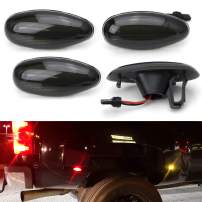 iJDMTOY Smoked Lens Amber/Red Full LED Trunk Bed Marker Lights Set Compatible With 2008-14 Chevy GMC 2500HD 3500HD Dually Truck Double Wheel Side Fenders, Powered by Total 60 LED