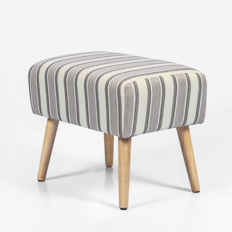 Joveco Ottoman Foot Rest Stool Small Fabric Footstool (Grey Stripe)