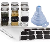 Set of 6 - Square Glass Spice Jars with Shaker Tops, Chalkboard Labels & Pen, Funnel and Airtight Silver Metal Lids, 4 Ounce Capacity, By Premium Vials (6)