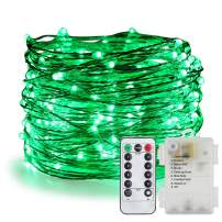 ER CHEN Fairy Lights Battery Operated Waterproof 8 Modes with Remote Timer, 33ft 100 LED Silver Coated Copper Wire Twinkle String Lights for Indoor Outdoor Decor (Green)