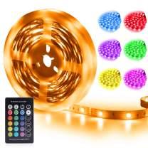 RGB Led Strip Lights Remote Control 4-FQ Led Lights Strip Power Supply 16.4ft 5M Color Changing Strip Lights Kit None-Waterproof DIY LED Lights for Bedroom TV Kitchen 24 Keys (16.4FT/5M)