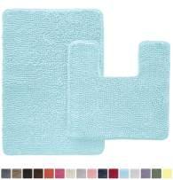 Gorilla Grip Original Shaggy Chenille 2 Piece Area Rug Set, Includes Square U-Shape Contoured Toilet Mat & 30x20 Bathroom Rugs, Machine Wash/Dry Mats, Plush Rugs for Tub Shower & Bath Room, Spa Blue