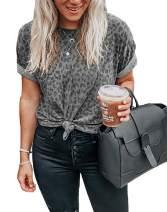 Murimia Women's Leopard Print T-Shirts Casual Cute Tops Basic Short Sleeve Blouses Shirts
