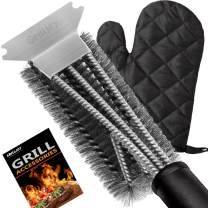 "grilljoy Grill Brush and Scraper. Ideal BBQ Grill Cleaner Accessories with Free BBQ Glove - 18"" Safe Stainless Steel Wire Bristles. Perfect BBQ Grill Brush/Barbecue Accessories for All Grill Types"