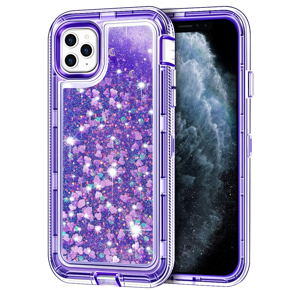 """iPhone 11 Pro Max Case, Anuck 3 in 1 Hybrid Heavy Duty Defender Armor Sparkly Floating Liquid Glitter Protective Hard Shell Shockproof Anti-Slip TPU Bumper Cover for iPhone 11 Pro Max 6.5"""" - Purple"""