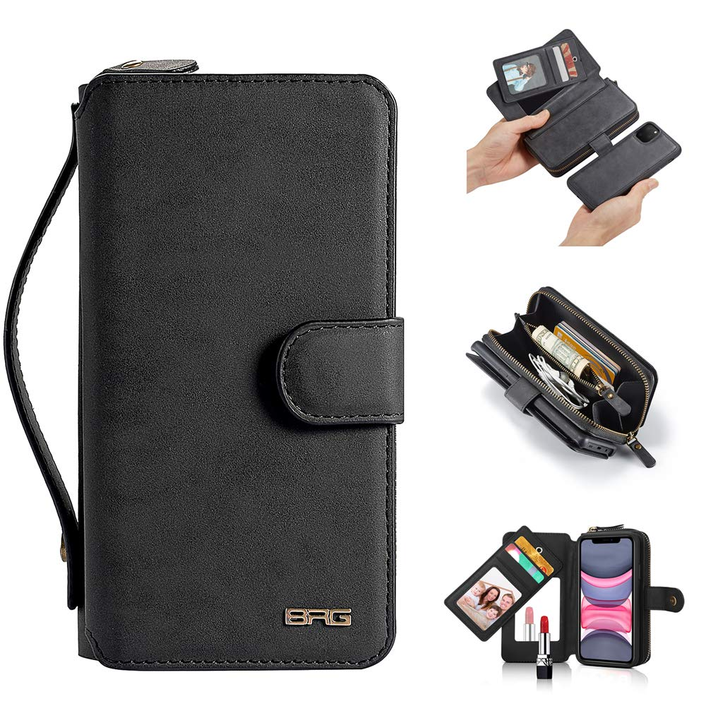 """iPhone 11 Case, [Magnetic Detachable] Wallet PU Leather Mirror Case Protective Removable Flip Folio Cover Zipper Purse Clutch Handbag with [11 Card Holder Slot] for iPhone 11 6.1"""" - Black"""