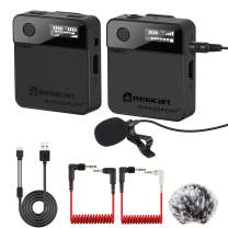 2.4GHZ Wireless Lavalier Microphone System Mini Wireless Lapel Microphone with Receiver and Transmitter 165ft OLED Screen for DSLR Camera,Smartphones, Camcorders, Video YouTube Facebook Live