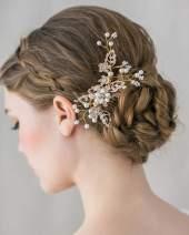 SWEETV Wedding Hair Comb Crystal Clip Pearl Hairpin Rhinestone Bridal Hair Accessories for Bride Bridesmaid, Gold