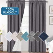 H.VERSAILTEX Bedroom 100% Blackout Curtains Textured Linen Look Room Darkening Drapes for Living Room, Thermal Insulated Rod Pocket Curtains Burlap Fabric with White Liner(Grey, 2 Panels, 52x84-Inch)