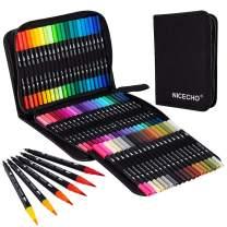 Nicecho Art Markers Dual Brush Pens, 60 Artist Coloring Marker, Fine & Brush Tip Pen Art Supplier for Kids Adult Coloring Book Bullet Journaling Drawing Planner Scrapbooking