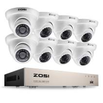ZOSI 8CH Security Surveillance System H.265+ 1080P 4 in 1 HD DVR and 8pcs 1080P HD Weatherproof CCTV Dome Cameras System,Night Vision,Easy Remote Access,NO Hard Drive