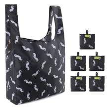Shopping Bags Reusable Foldable with Little Attached Pouch 5 Pack Lightweight Ripstop Reusable Tote Bags for Groceries Machine Washable Mustache