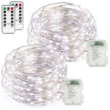buways Fairy Lights, 2-Pack Battery Operated Waterproof Cool White 50 LED Fairy String Lights, 16.4ft Silver Wire Light with Remote Control for Christmas Parties, Garden, and Home Decoration