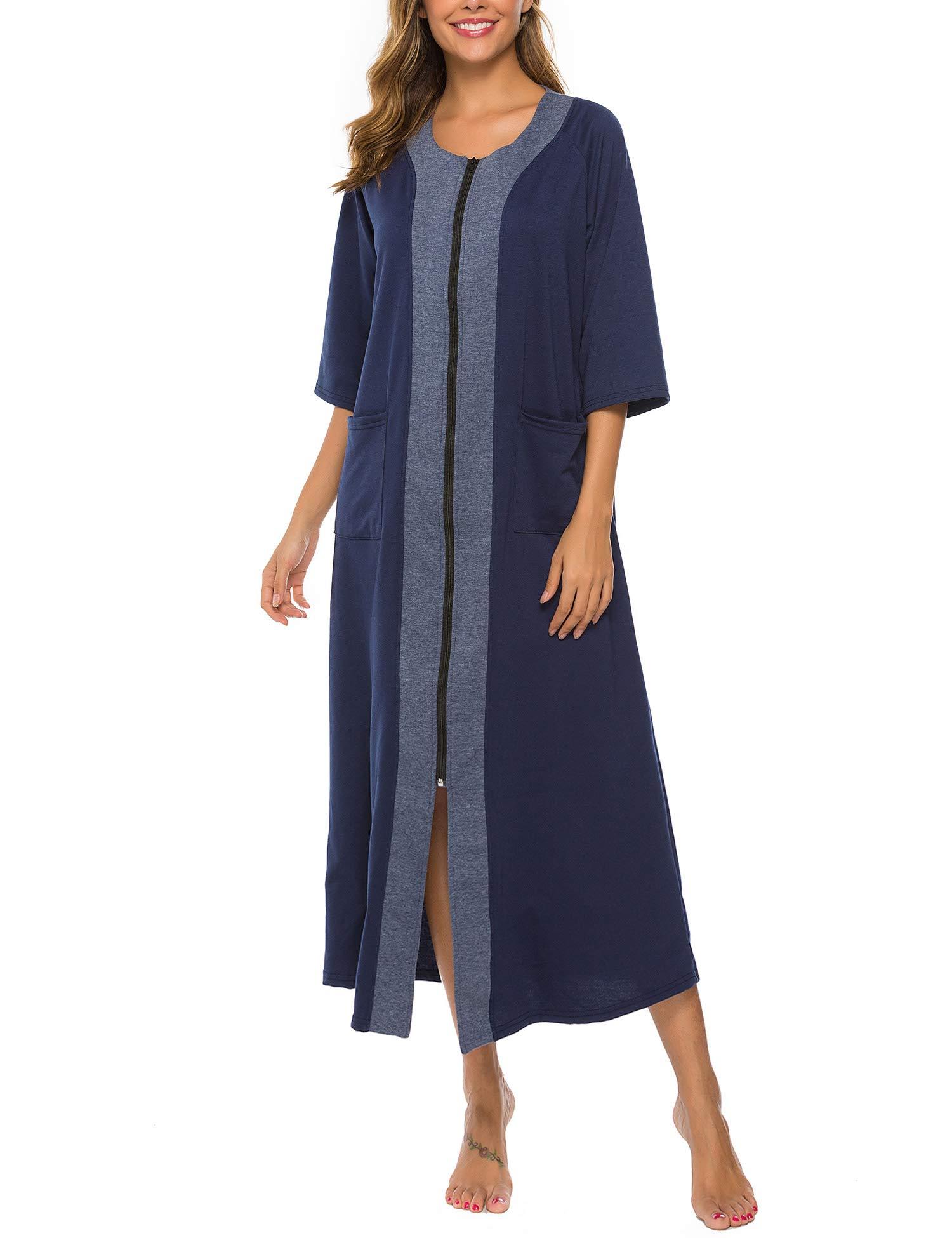 Bloggerlove House Coat Women Zipper Robe Half Sleeve Loungewear Full Length Sleepwear Long Nightgowns with Pockets S-XXL