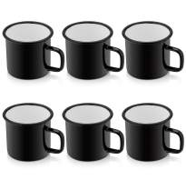 P&P CHEF Enamel Camping Coffee Mug Set of 6, Small Colored Mugs Cups for Family Gathering/Friend Party/Camping/Picnic/Fishing, Lightweight & Portable -12 Ounce (350ML)
