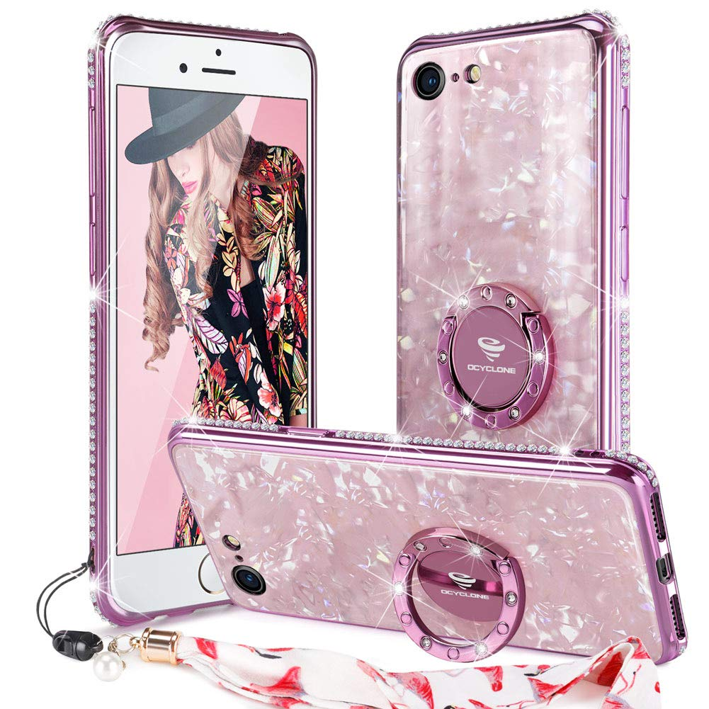 OCYCLONE Glitter Case for iPhone SE 2020 Case, Cute iPhone 8/7 Case, [Marble Pattern Tempered Glass Back] with Ring Stand + Bling Diamond Bumper Women Girls Phone Case for New iPhone SE/ 8/7, Pink