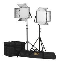 Ikan LW10-2PT-KIT 2-Point Soft Panel LED Light Kit with Gold & V-Mount Battery Plate, Black