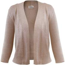 FASHION BOOMY Women's Open Front Cropped Cardigan - 3/4 Sleeve Soft Knit Sweater - Classic Bolero Jacket