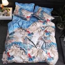 LAMEJOR Duvet Cover Set Queen Size Oil Painting Style Ink Floral Pattern Reversible Luxury Soft Bedding Set Comforter Cover (1 Duvet Cover+2 Pillowcases) White/Blue