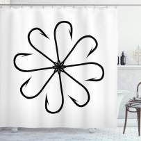 """Ambesonne Fishing Shower Curtain, Flower Shaped Artisan Steel Multi Hook Gaff in Row New Needle Device Print, Cloth Fabric Bathroom Decor Set with Hooks, 75"""" Long, Black White"""