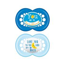 MAM Attitude Pacifier (2 pack, 1 Sterilizing Pacifier Case), Pacifiers 6 Plus Months, Baby Boy Pacifier, Best Pacifiers for Breastfed Babies, Sterilizing Storage Case