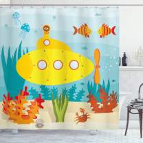 "Ambesonne Yellow Submarine Shower Curtain, Sea Life Theme with Submarine Fish and a Crab Illustration Print, Cloth Fabric Bathroom Decor Set with Hooks, 70"" Long, Pale Blue"